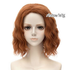 35CM Halloween Anime for Black Widow Dark Orange Curly Hair Wig+Cap Cosplay