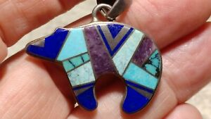 Signed CALVIN BEGAY BEAR PENDANT TURQUOISE Lapis Purple STERLING NECKLACE CHAIN