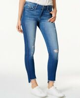 $90 FLYING MONKEY RIPPED STEP HEM TUXEDO-STRIPE SKINNY JEANS MED BLUE SIZE 25