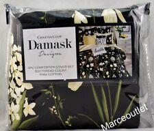 Charter Club Damask Designs Pressed Floral Twin Duvet Cover & Sham Set Black