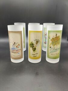 Tommy Bahama Set of 6 Frosted Highball Glasses Tumblers Cocktail Drinking Bar