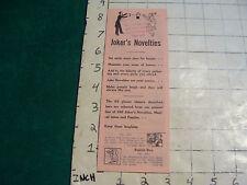 vintage JOKER'S NOVELTIES papers, undated, as shown,