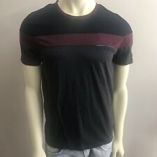 Men's Ted Baker Short Sleeve T- Shirt Sz 3 Gray Burgundy Blue 100% Cotton