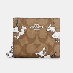 COACH x PEANUTS SNAP WALLET IN SIGNATURE CANVAS WITH SNOOPY PRINT NWT