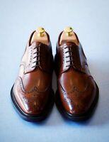 Chaussures à lacets derby à bout d'aile en cuir véritable marron pour hommes
