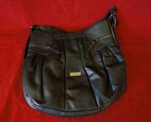 Gabor Large Black Leather Bucket Bag