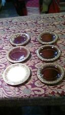Six Vintage Gravy Boat Saucers Fosters Pottery Cornwall Cream Honeycomb Pattern