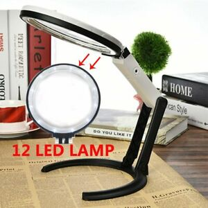 5X Large Magnifying Glass With Light LED Magnifier Foldable Stand Desk Read AU