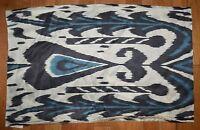 "Pottery Barn Edith Ikat Silk Lumbar Pillow Cover Blue Black White 16 X 26"" #7"