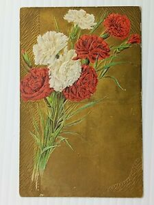 Vintage Postcard 1910's Carnation Flowers with Gold Background Embossed