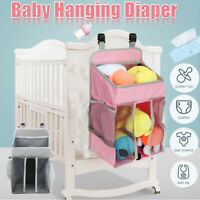 Nursery Baby Crib Bed Diaper Nappy Clothes Hanging Holder Storage Bag Organizer