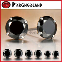 STERLING SILVER MENS WOMEN ROUND STUD EARRINGS made with Black Swarovski Crystal