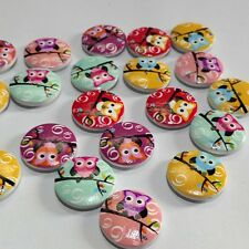 50 Pcs/ Mixed 2 Holes Owl Round Pattern Wood Buttons Scrapbooking RDKU 20mm