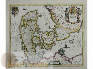 Denmark, antique map Dania Regnum by Merian 1638.