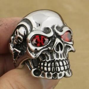 316L Stainless Steel Red CZ Eyes Titan Skull Ring Men Biker Punk Style 3A601A