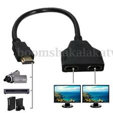 HDMI Male To Dual HDMI Female 1 In 2 Out Splitter Cable Adapter Converter 1080P