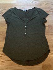 Charlotte Russe Womens Green Short Sleeve Button Linen Blend T-Shirt Size Small
