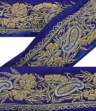 Vintage Sari Border Antique Hand Beaded 1 YD Indian Trim Decor Ribbon Blue Lace