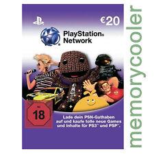 Playstation Network Card Key PSN 20€  20 EUR EURO Prepaid Card - PS4 PS3 PSP -DE