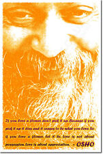 """OSHO ART PRINT QUOTE PHOTO POSTER GIFT MEDITATION """"IF YOU LOVE A FLOWER..."""""""