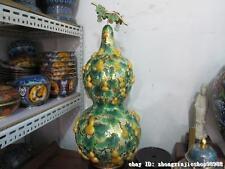 "32""Copper cloisonne enamel inlay Yellow Jade Auspicious Flowers cucurbit gourd"
