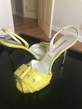 Auth BRUNO FRISONI Lime Patent Leather Slingback Peep Toe Platform Shoes, 39.5
