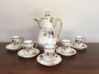Antique A&D Limoges Hand-Painted CHOCOLATE POT with CUPS & SAUCER SETS ~ Pansies