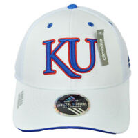 NCAA Adidas Kansas Jayhawks V083Z Jersey Mesh Hat Cap White Curved Bill Sports