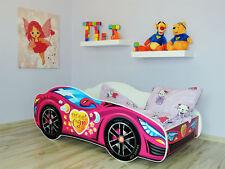 Rennauto Bett PINK, Kinder Bett mit matratze (140x70cm) für Mädchen + Kissen