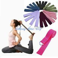 Adjustable D-Ring Yoga Pilates Stretch Strap D-Ring Belt Waist Leg Fitness KV