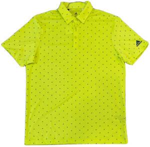 Adidas Golf Primegreen Mens Polo - Tree Print - Medium - Neon - NWT