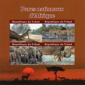 Chad Wild Animals Stamps 2020 MNH National Parks Zebras Elephants 4v IMPF M/S