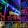 LED Star Curtain String Lights 12 Stars 138 LEDs Window Icicle Wedding Outdoor