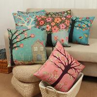 Cotton Linen Floral Tree Cushion Cover Sofa Throw Pillow Case Home Decor 45*45cm