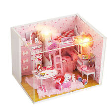 DIY Doll House Hello Kitty Dolls 3D Music Dollhouse Miniatures LED Furniture Kit