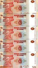 LOT Congo D. R. 5 x 10 Francs, 2003, P-93, UNC