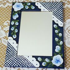 Wood Mirror Frame Blue Roses & White Lace Hand Painted by Lia