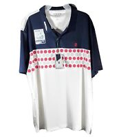 Men's Izod Golf Performance Polo Shirt Stretch Blue White w/Balls 2XL XXL *NEW*