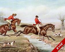 FOX HUNT HORSE JUMPING BROOK EQUESTRIAN HUNTING ART PAINTING REAL CANVAS PRINT
