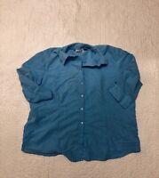 apparenza womens blue 3/4 sleeve button down shirt top blouse plus size 22W