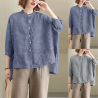 Women Casual Holiday Baggy Plaid Check Shirt Tops High Low Crew Neck Blouse Tee