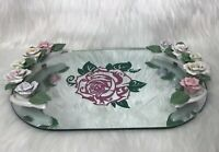 Vintage Mirror Tray With Ceramic Rose Handles And Pink Rose Inlay Beautiful