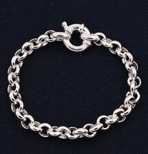 Rolo Charm Link Bracelet High Polished All Shiny Real 925 Sterling Silver