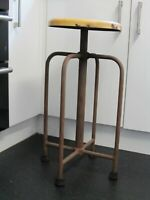 Antique Vintage Stool Evertaut Style Machinist Lathe Bar Stools Industrial 72cms