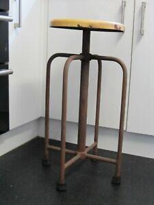 Antique Vintage Stool Evertaut Style Machinist Lathe Bar Stools Industrial 72cms