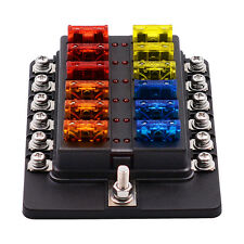 100A 12 Way Circuit Blade Fuse Box Block Holder Standard ATO LED Indicator Fault
