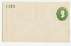 MEXICO ENVELOPE 10c GREEN, E8/E8, CONTROL 1879, VERY CLEAN, FLAP NOT STUCK (A987