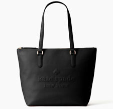Kate Spade Larchmont Avenue Logo Penny Black Leather Top Zip Tote Wkru5804