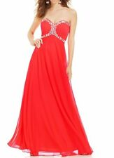 Xscape Dress Sz 4 Neon Coral Beaded Mesh Strapless Corset Formal Evening Gown