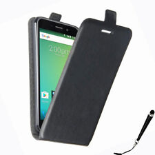 Black Leather Flip Card wallet Case Cover Telstra 4GX Premium / ZTE Blade A602
